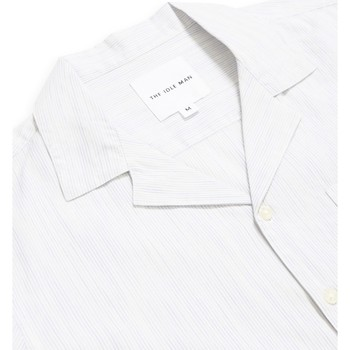 Clothing Men long-sleeved shirts The Idle Man Retro Stripe Revere Collar Shirt White White