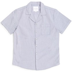 Clothing Men short-sleeved shirts The Idle Man Printed Gingham Dot Revere Collar Shirt Grey White