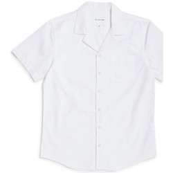 Clothing Men short-sleeved shirts The Idle Man Slub Revere Collar Shirt White White