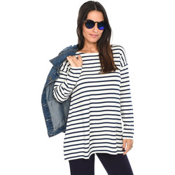Clothing Women long-sleeved polo shirts Isabella Oliver Striped T-shirt Billie Relaxed Maternity Top Navy blue / White Navy blue