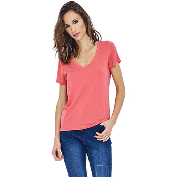 Clothing Women short-sleeved t-shirts Mado Et Les Autres Lyocell T-shirt AMBRE Coral Woman Spring/Summer Collection 2018 Coral