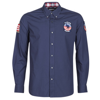 Clothing Men long-sleeved shirts U.S Polo Assn. USA PATCH SHIRT BD Marine