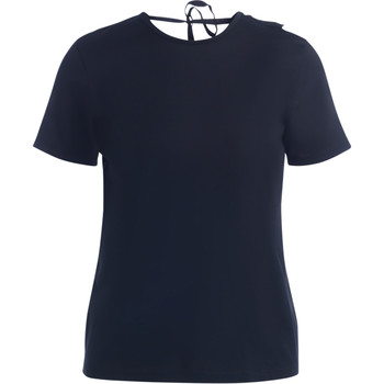 Clothing Women short-sleeved t-shirts Jucca black T-shirt with neckline and rouches Black