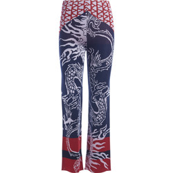Clothing Women Trousers Circus Hotel blue and red trousers with dragons Multicolour