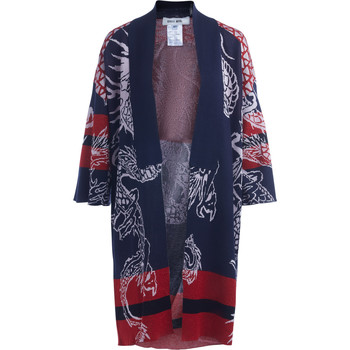 Clothing Women jumpers Circus Hotel blue and red Kimono with dragons Multicolour