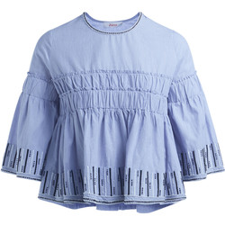 Clothing Women Tops / Blouses Jucca light blue blouse with embroidery and curls Light blue