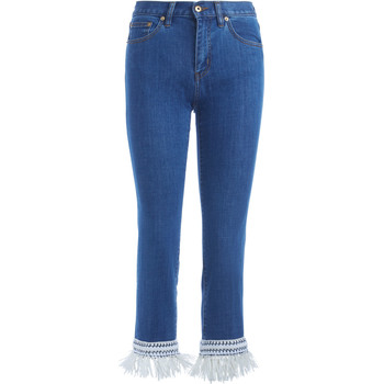 Clothing Women Jeans Tory Burch Connor blue denim Jeans with decorated bottom Blue