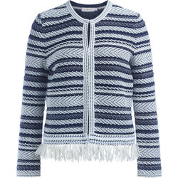 Clothing Women jumpers Tory Burch Payton white and blue cotton cardigan Black