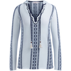 Clothing Women jumpers Tory Burch Tory Birch Ria white and black tunic with hoodie White