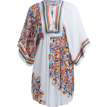 Clothing Women Dresses Tory Burch Tory Birch Kaleidoscope white tunic with multicolor graphics Multicolour