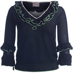 Clothing Women jumpers Se-Ta black sweater with rouches and acid green borders Black