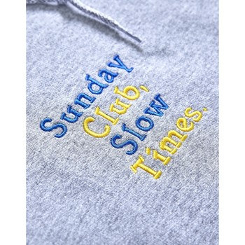 Clothing Men jumpers The Idle Man Sunday Club Slow Times Embroidery Hoodie Grey Grey