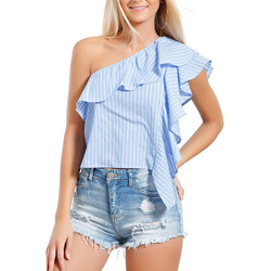 Clothing Women Tops / Blouses Infinie Passion Blue and white top 00W038846 Sky blue F Sky blue