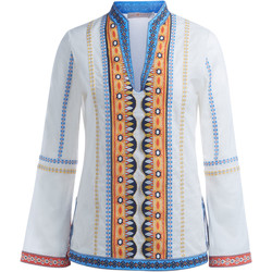 Clothing Women jumpers Tory Burch Stephanie white cotton tunic with embroidery White