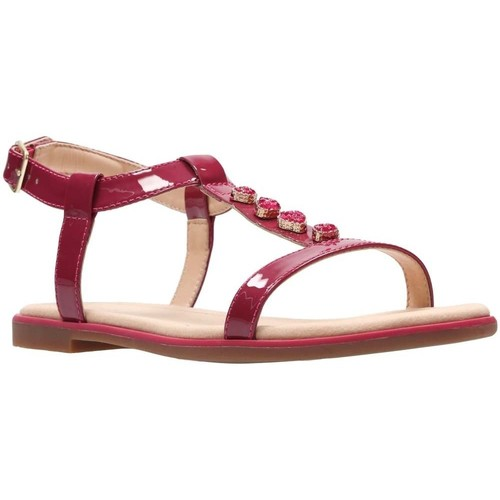 Shoes Women Sandals Clarks Bay Blossom Womens Patent Sandals pink