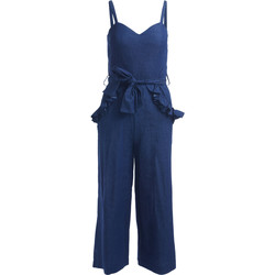 Clothing Women Jumpsuits / Dungarees Se-Ta chambray blue jumpsuite with rouches Blue