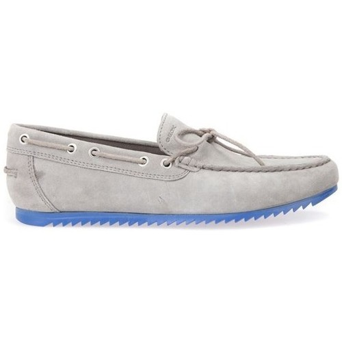 Shoes Men Loafers Geox Shark Stone Grey