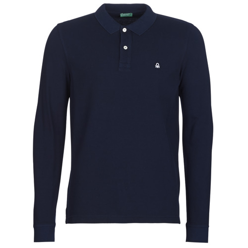 Clothing Men long-sleeved polo shirts Benetton MAZARRI Marine