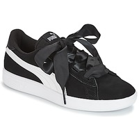 Shoes Girl Low top trainers Puma JR PUMA SMASH RIBB.BLK  black