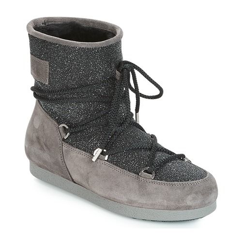 Shoes Women Snow boots Moon Boot FAR SIDE LOW SUEDE GLITTER Black / Grey
