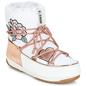 Shoes Women Snow boots Moon Boot PEACE & LOVE WP White / Pink / Gold