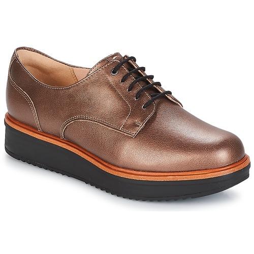 Shoes Women Derby Shoes Clarks TEADALE Dark / Tan / Lea