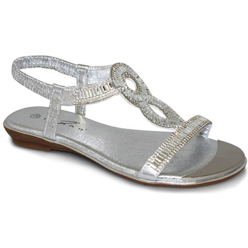 Shoes Women Sandals Lunar Ladies Samantha Glitzy Sandal Low Heel Sandal Silver