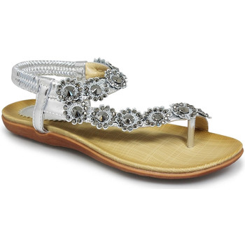 Shoes Women Sandals Lunar Ladies Charlotte Flower Trim Toe Post Sandal Silver