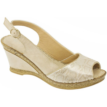 Shoes Women Derby Shoes Lunar Ladies Barnes Snake Print Wedge Sandal Beige Snake Print