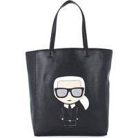Bags Women Shopping Bags / Baskets Karl Lagerfeld Ikonik black leather Shopper with graphics Black