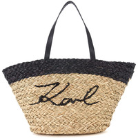 Bags Women Shopping Bags / Baskets Karl Lagerfeld Ikonik natural and black straw shopper Multicolour