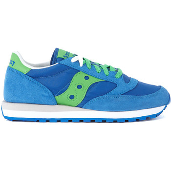 Shoes Men Low top trainers Saucony Jazz blue and green suede and nylon Sneaker Blue