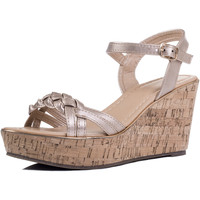Shoes Women Sandals Spylovebuy BEYOND BELIEF Cork Style Wedge Heel Sandals Shoes - Gold Leathe Gold