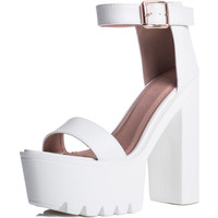 Shoes Women Sandals Spylovebuy SHAME THE DEVIL Chunky Cleated Sole Platform Block Heel Sandals White