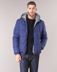 Clothing Men Duffel coats Tommy Hilfiger REVERSIBLE HOODED BOMBER Marine / Reversible / Chevron / Grey