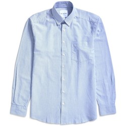 Clothing Men long-sleeved shirts The Idle Man Relaxed Modern Fit Stripe Oxford Shirt Blue Blue