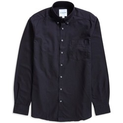 Clothing Men long-sleeved shirts The Idle Man Relaxed Modern Fit Oxford Shirt Black Black