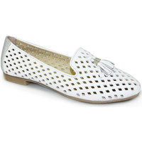 Shoes Women Slip ons Lunar Ladies Alma II Punched Leather Loafer White