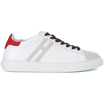 Shoes Men Low top trainers Hogan H365 iwhite leather and beige nabuk sneaker White