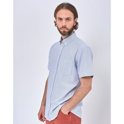 Clothing Men long-sleeved shirts The Idle Man Relaxed Modern Fit Stripe Oxford Short Sleeve Shirt Blue Blue