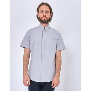 Clothing Men long-sleeved shirts The Idle Man Relaxed Modern Fit Oxford Short Sleeve Shirt Grey Grey