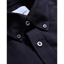 Clothing Men long-sleeved shirts The Idle Man Relaxed Modern Fit Oxford Short Sleeve Shirt Black Black