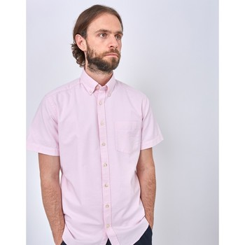 Clothing Men long-sleeved shirts The Idle Man Relaxed Modern Fit Oxford Short Sleeve Shirt Pink Pink