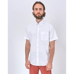 Clothing Men long-sleeved shirts The Idle Man Relaxed Modern Fit Oxford Short Sleeve Shirt White White