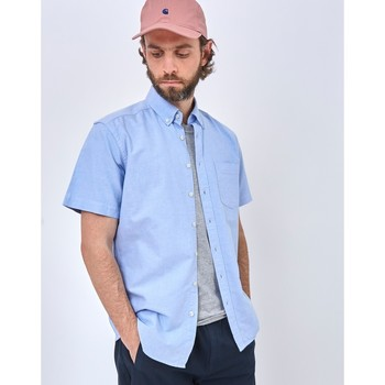 Clothing Men long-sleeved shirts The Idle Man Relaxed Modern Fit Oxford Short Sleeve Shirt Blue Blue