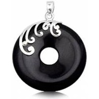 Watches Women Pendants Blue Pearls Round Pendant in Black Sandstone and 925 Silver Multicolored