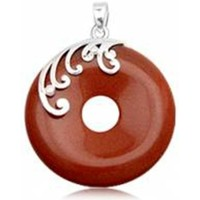 Watches Women Pendants Blue Pearls Round Pendant in Brown Sandstone and 925 Silver Multicolored