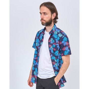 Clothing Men long-sleeved shirts The Idle Man Oversize Fit Hibiscus Print Shirt Blue
