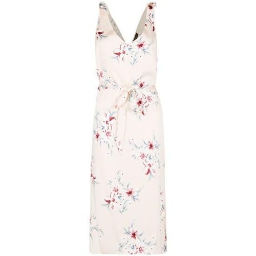 Clothing Women Long Dresses Anastasia Satin Floral Sundress Beige