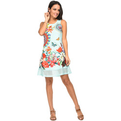 Clothing Women Short Dresses 101 Idees Dress A0627 Blue Woman Spring/Summer Collection 2018 Blue